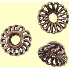 10 Antiqued Pure Copper 10x5mm Fluted Design Beadcaps
