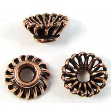 10 Antiqued Pure Copper 10x5mm Fluted Design Beadcaps