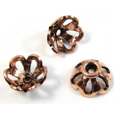 10 Pure Antiqued Copper 8x4mm Filigree Design Beadcaps