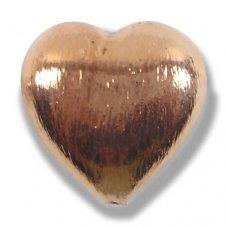 1 Pure Copper 20mm Heart Bead Brushed Effect