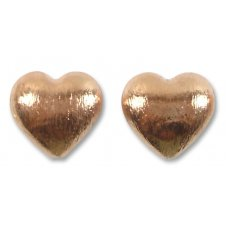 2 Pure Copper Heart 14mm Beads Brushed Effect