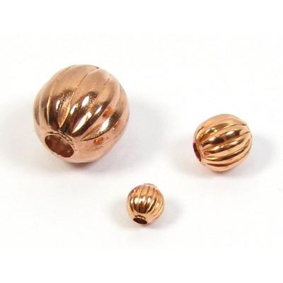 10 Pure Copper 8mm Round Corrugated Beads