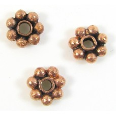 10 Light Antiqued Pure Copper 6mm Daisy Spacer Beads