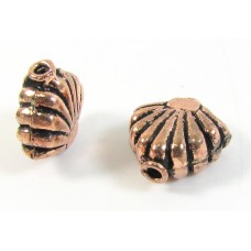 1 Antiqued Pure Copper Shell Bead