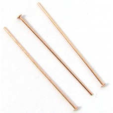 100 Pure Copper 25mm (1 inch) 0.5mm Headpins