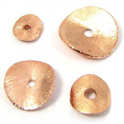 10 Brushed Pure Copper 10mm Wavy Spacer Discs