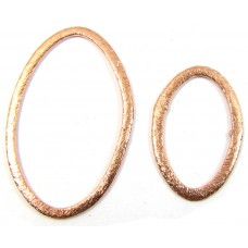 1 24 x 18 mm Brushed Pure Copper Oval Ring