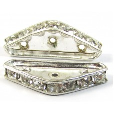 1 Silver Plated Diamante Crystal Spacer Bar 3-Row