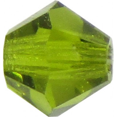 100 Olivine Preciosa Crystal 4mm Bicone Beads