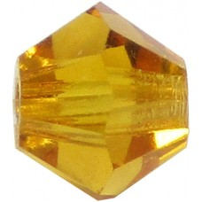 100 Topaz Preciosa Crystal 4mm Bicone Beads
