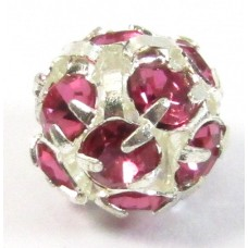 1 Silver Plated Fuchsia Crystal Set 8mm Bead