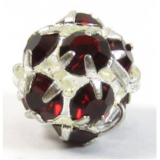1 Silver Plated Siam Ruby Crystal Set 8mm Bead