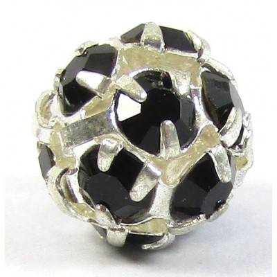 1 Silver Plated Black Crystal Set 8mm Bead