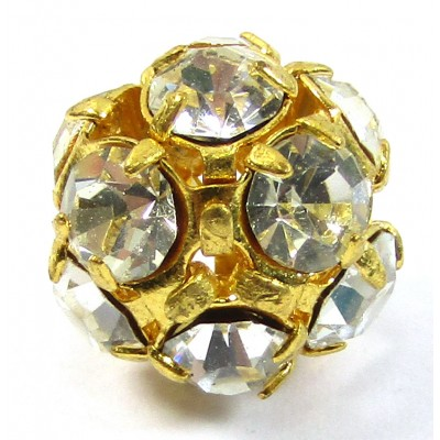 1 Gold Plated Diamante 10mm Crystal Set Bead