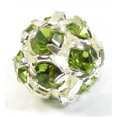 1 Silver Plated Olivine Crystal 8mm Bead