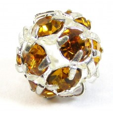 1 Silver Plated Topaz Crystal Set 8mm Bead