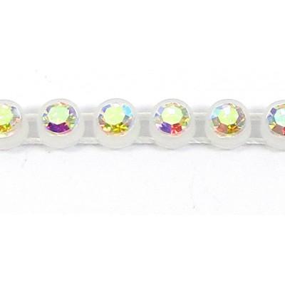 1 cm Preciosa Crystal Chaton Banding Alabaster with AB Stones 1 Row
