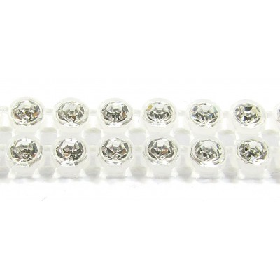 1 cm Preciosa Crystal Chaton Banding Alabaster with Crystal Stones 2 Row
