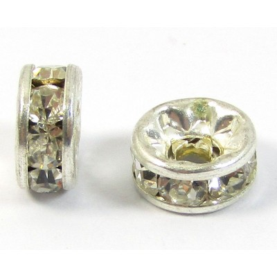 10 Silver Plated Clear Crystal 7mm Rondelle Spacers