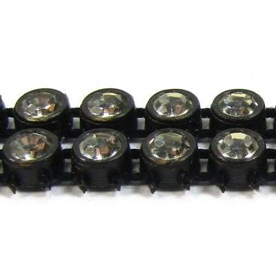 1 cm Preciosa Crystal Chaton Banding Black with Crystal Stones 2 Row