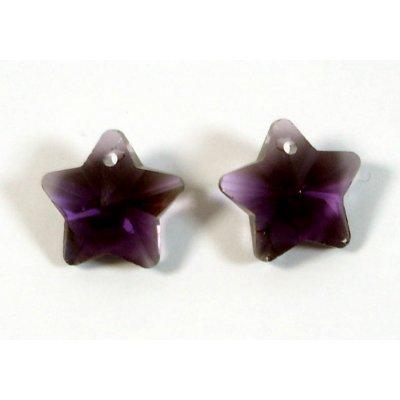 2 Crystal Amethyst 14mm Star Pendants
