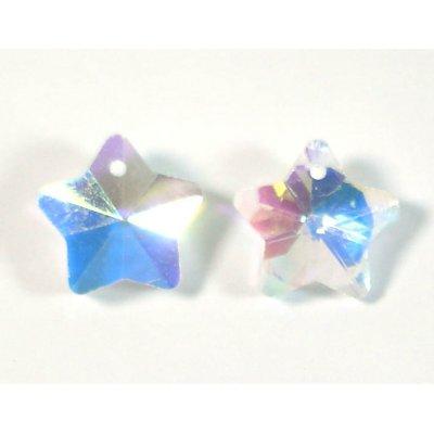 2 Crystal Clear AB 14mm Star Pendants