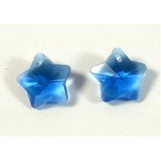 2 Crystal Sapphire 14mm Star Pendants