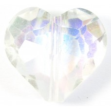 1 Clear AB Crystal Facetted 18mm Heart Bead