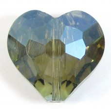 1  Meridian Blue AB Crystal Facetted 18mm Heart Bead