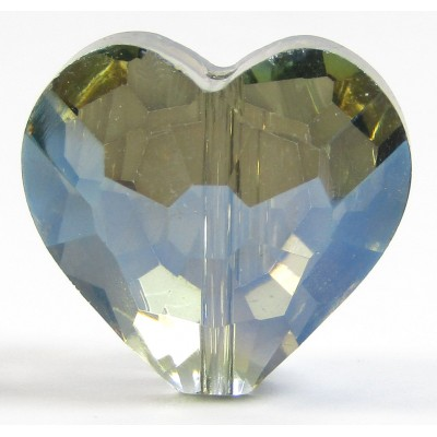 1 Pear Green AB Crystal Facetted 18mm Heart Bead