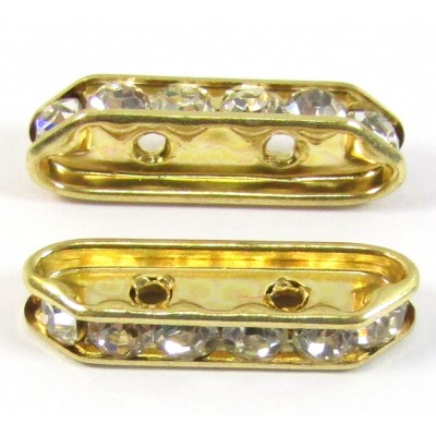 1 Gold Plated Diamante Crystal Spacer Bar 2-Row