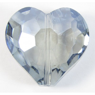 1 Sky Blue AB Crystal Facetted 18mm Heart Bead