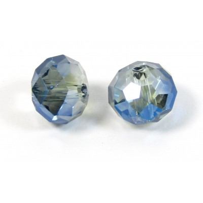 10 Meridian Blue Crystal AB 8mm Rondelle Beads