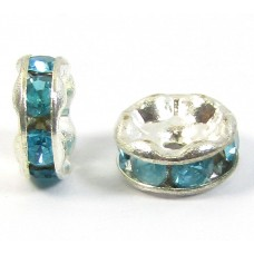 10 Silver Plated Aqua Crystal 6mm Rondelle Spacers