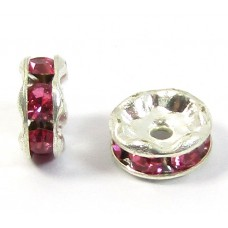 10 Silver Plated Fuchsia Crystal 6mm Rondelle Spacers