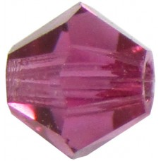 100 Fuchsia Preciosa Crystal 4mm Bicone Beads