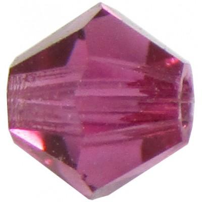 100 Fuchsia Preciosa Crystal 4mm Bicone Beads