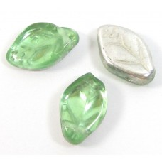 25 of Czech Class Top Drilled Peridot-Silver Leaf Beads