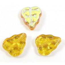 25 of Czech Glass Topaz/ Aurora Borealis Leaf Beads