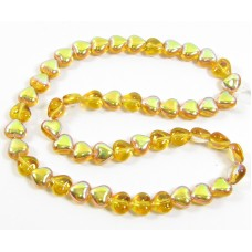 50 6mm Heart Beads - Topaz AB