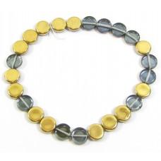 25 Czech Glass Montana Blue/ Gold Disc Beads