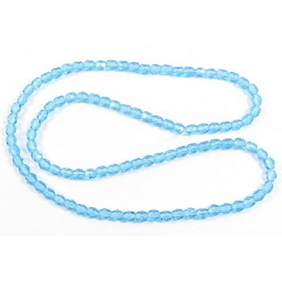 4mm Aqua Czech Firepolish beads