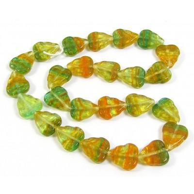 25 of Czech Glass Stripy Lemon-Green Leaf Beads
