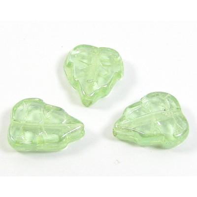 25 of Czech Glass Peridot Lustre Leaf Beads