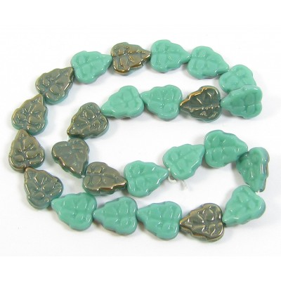25 of Czech Glass Turquoise Lustre Leaf Beads