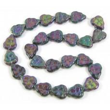 25 of Czech Glass Purple Iris Lustre Leaf Beads
