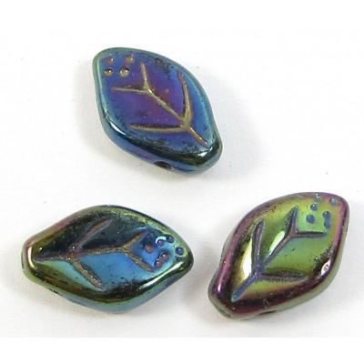 25 of Czech Glass Dark Green Iris Lustre Leaf Beads