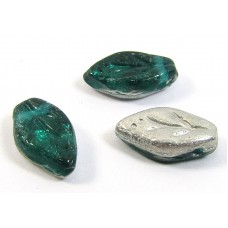 25 of Emerald Silver Top Drilled Leaf Beads