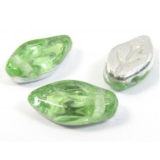 25 of Peridot Silver Top Drilled Leaf Beads
