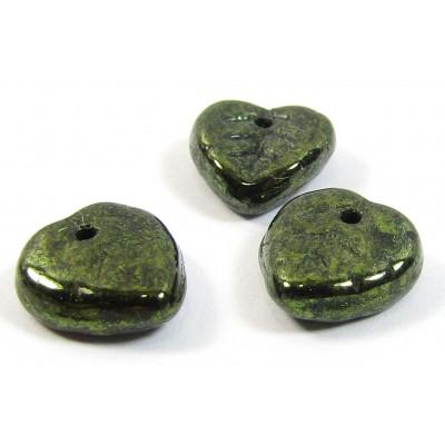 50 of Czech Glass Top Hole Dark Green Lustre Glass Leaf Beads
